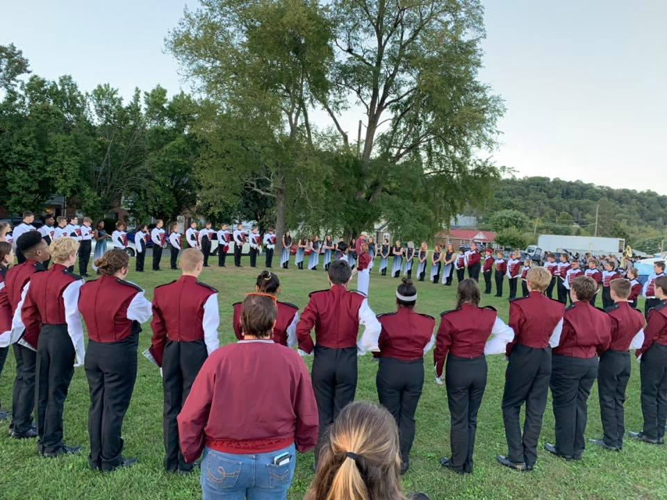 The 2018-19 Marching Terriers prepare for a competition with words from Mr. Plybon